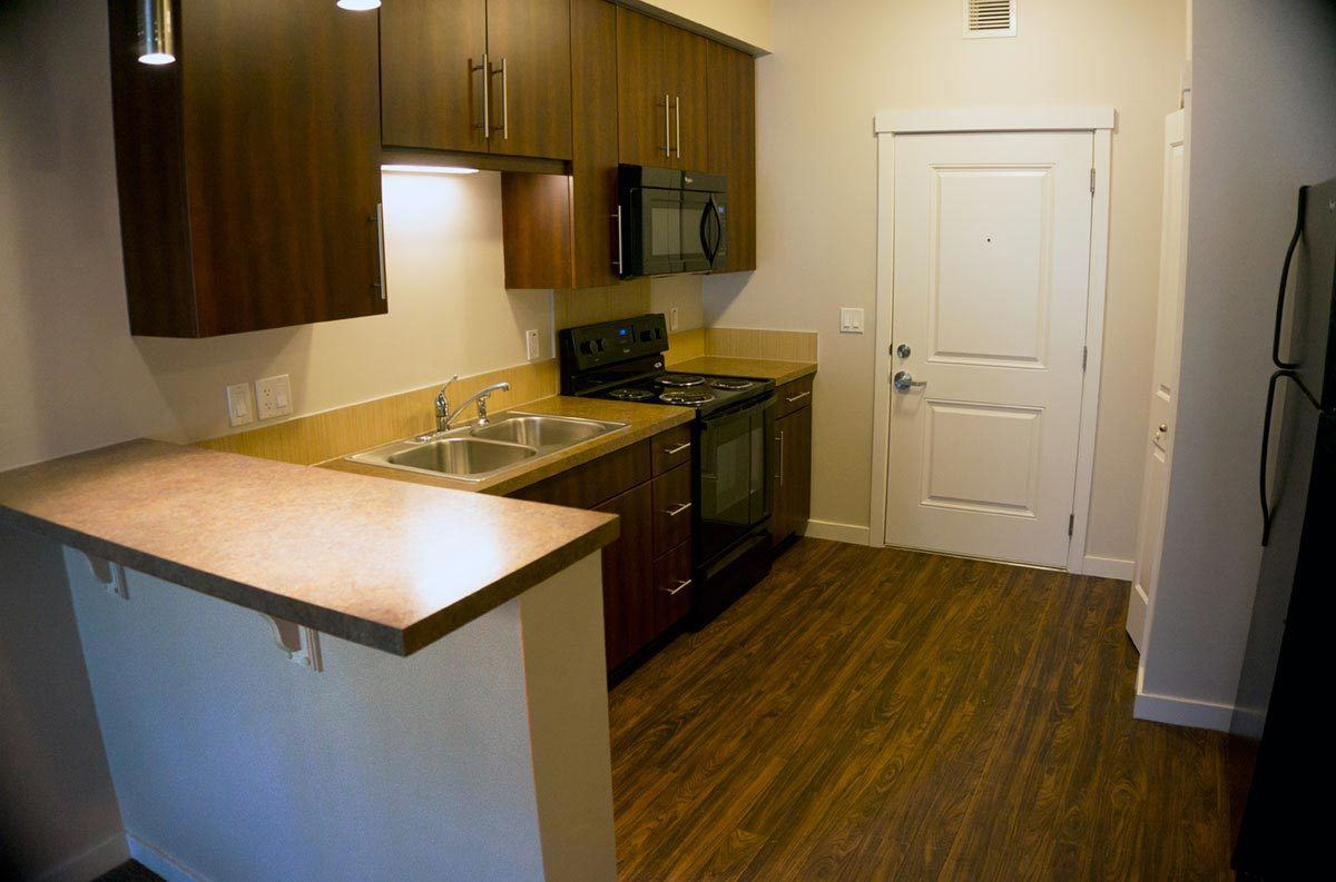 Hardwood floors in condo suite